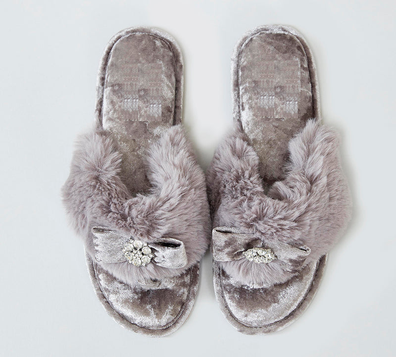 Minx Fluffy Slippers with Diamonte - Lovelei Ltd