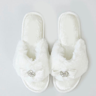 White Fluffy Slippers with Diamonte - Lovelei Ltd