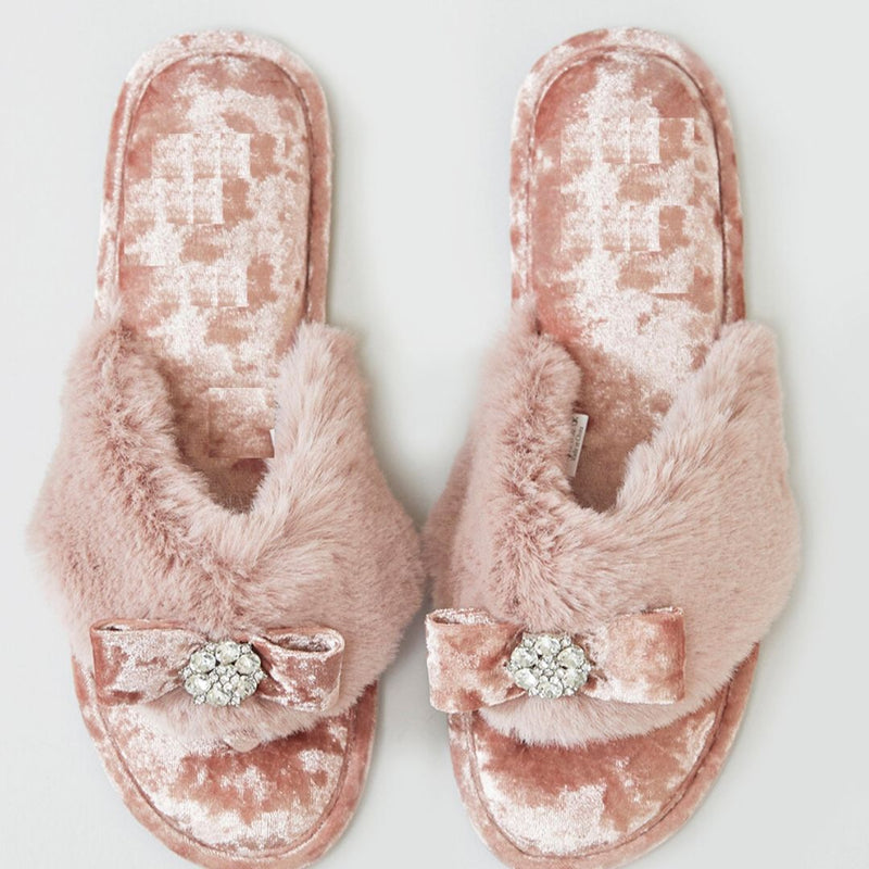 Minx Fluffy Slippers with Diamonte