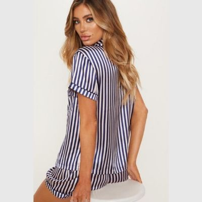 Georgia Navy Satin Stripe Short Pyjamas - Lovelei Ltd