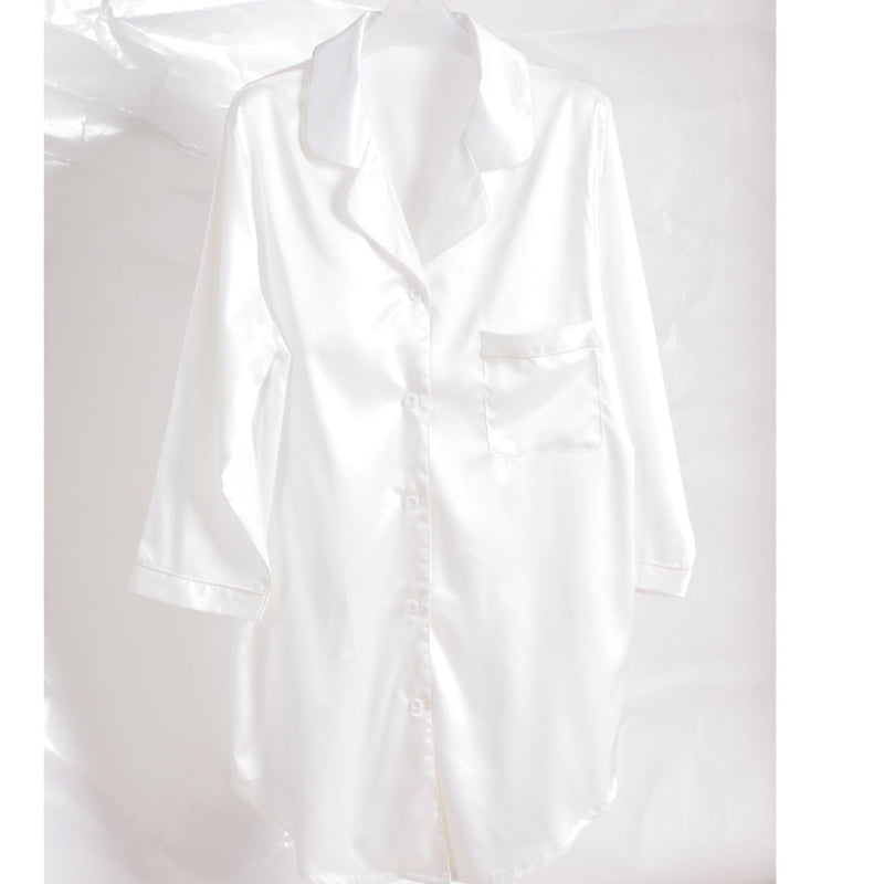 Satin Sleepshirt - White - Lovelei Ltd