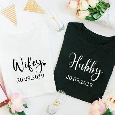 Hubby & Wifey  with Date TShirt Tops - Style 1 - Lovelei Ltd