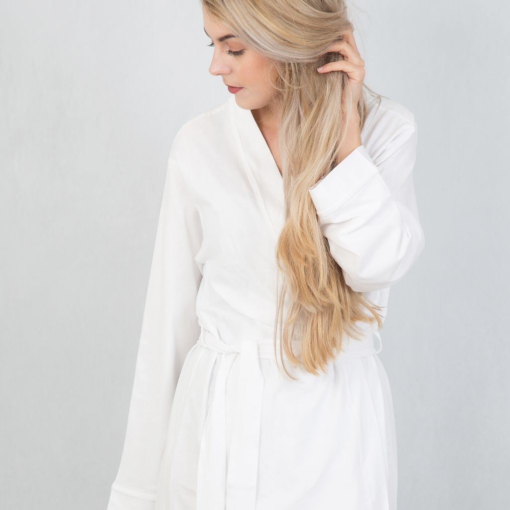 White Cotton Robe - Lovelei Ltd