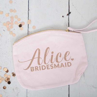 Personalised Bridal Rose Gold Make Up Bag - Lovelei Ltd