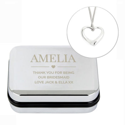 Personalised Box and Heart Necklace - Lovelei Ltd