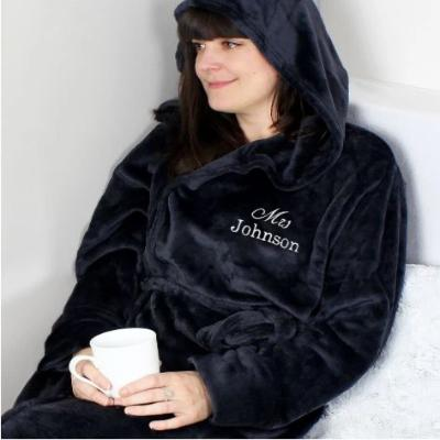 Black Fluffy Wedding Hooded Robe - Lovelei Ltd