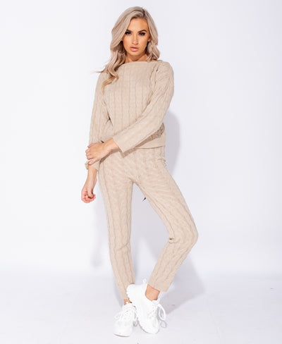 Courtney Cable Knit Cropped Top & Legging Lounge Set - Beige - Lovelei Ltd