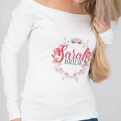 Personalised Name with Role Wreath Design - Off the Shoulder style top - Lovelei Ltd