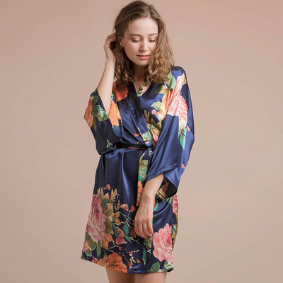 Roseanna Navy Robe - Lovelei Ltd
