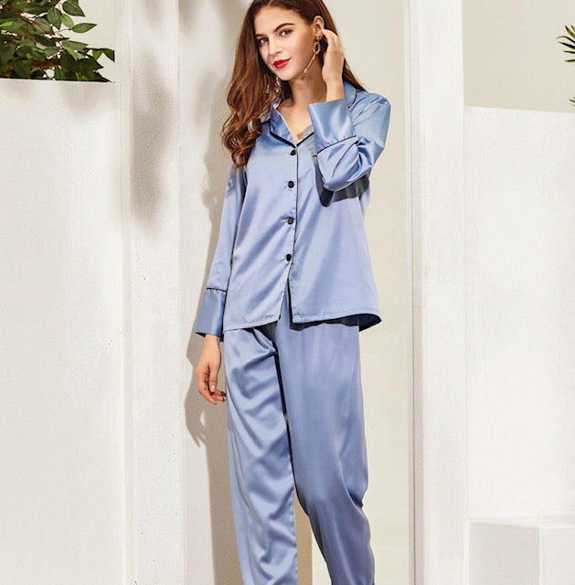 Chloe Satin Long Pyjamas- Dusky Blue Grey - Lovelei Ltd