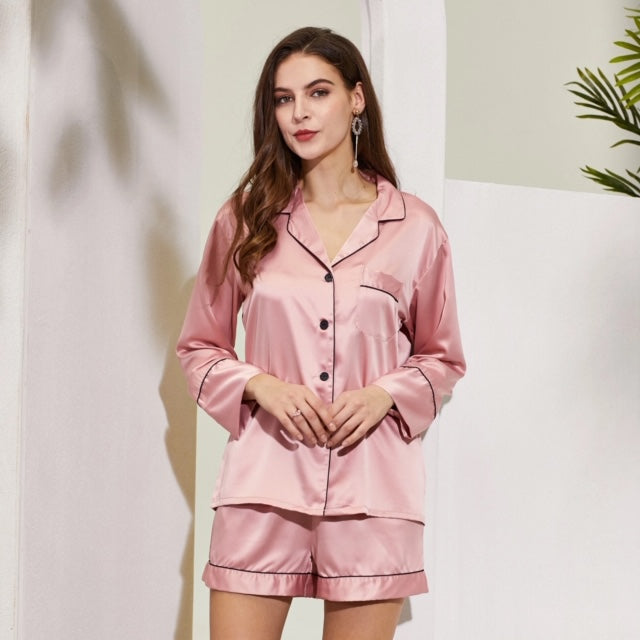 Chloe Satin Piped Long sleeve Shirt and Short Pyjamas- Dusky Pink - Lovelei Ltd
