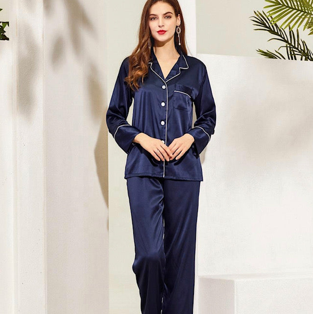 Chloe Satin Long Pyjamas- Navy - Lovelei Ltd