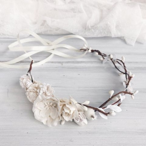 White Rustic Willow Look Flower Crown - Lovelei Ltd