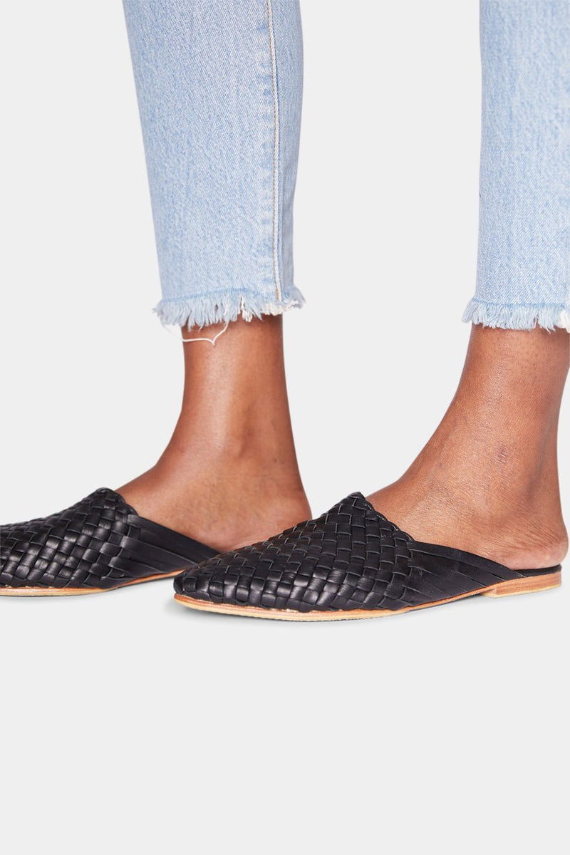 BURKINA LEATHER MULES - BLACK shoes Lady Alako