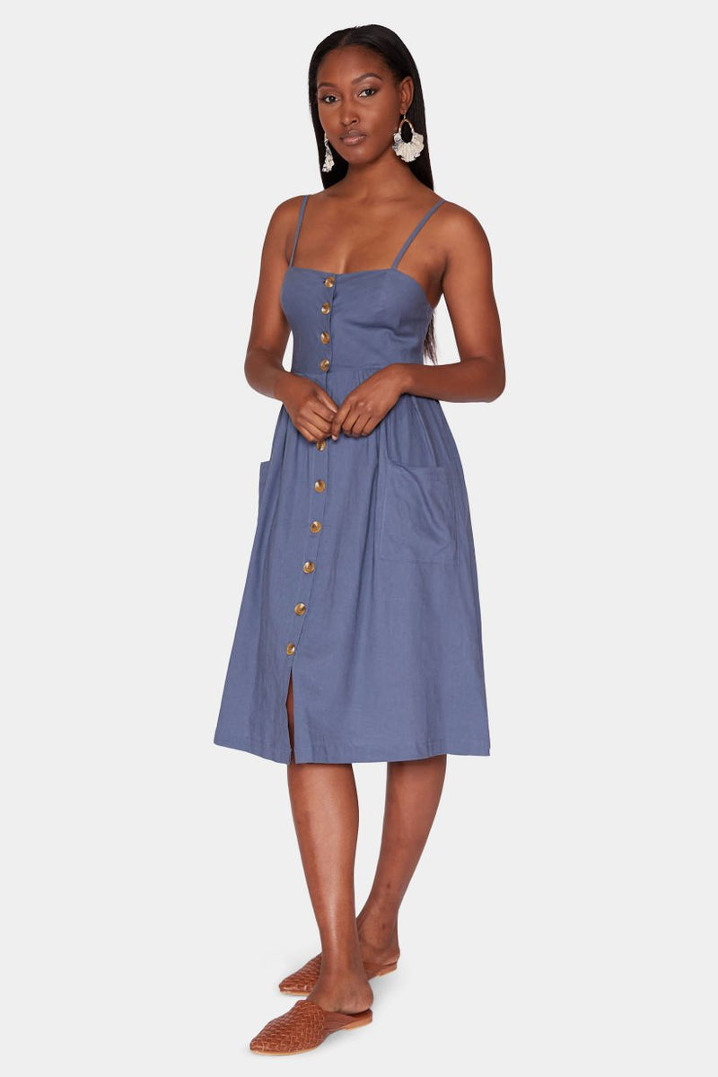 BUTTON DOWN MIDI DRESS - DENIM dress LADY ALAKO