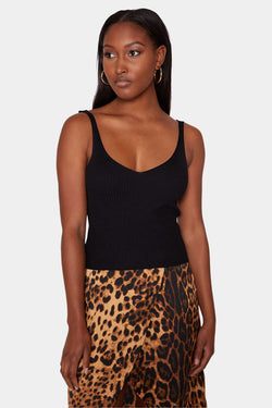 CAMEROON COTTON KNIT TANK - BLACK tops LADY ALAKO