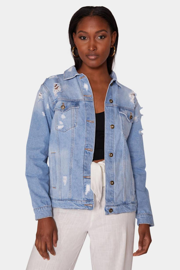 DISTRESSED DENIM JACKET jacket LADY ALAKO