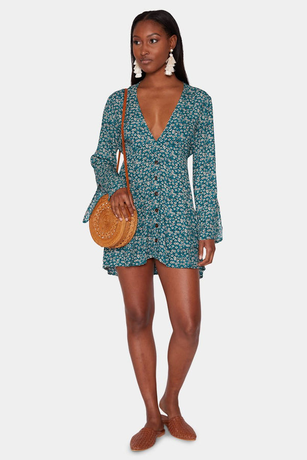 IVY FLORAL POCKET DRESS - TEAL dress LADY ALAKO