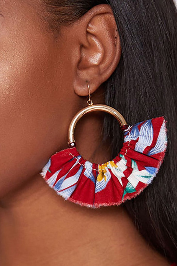 JASMINE FLORAL PRINT HOOPS - CHERRY earrings LADY ALAKO