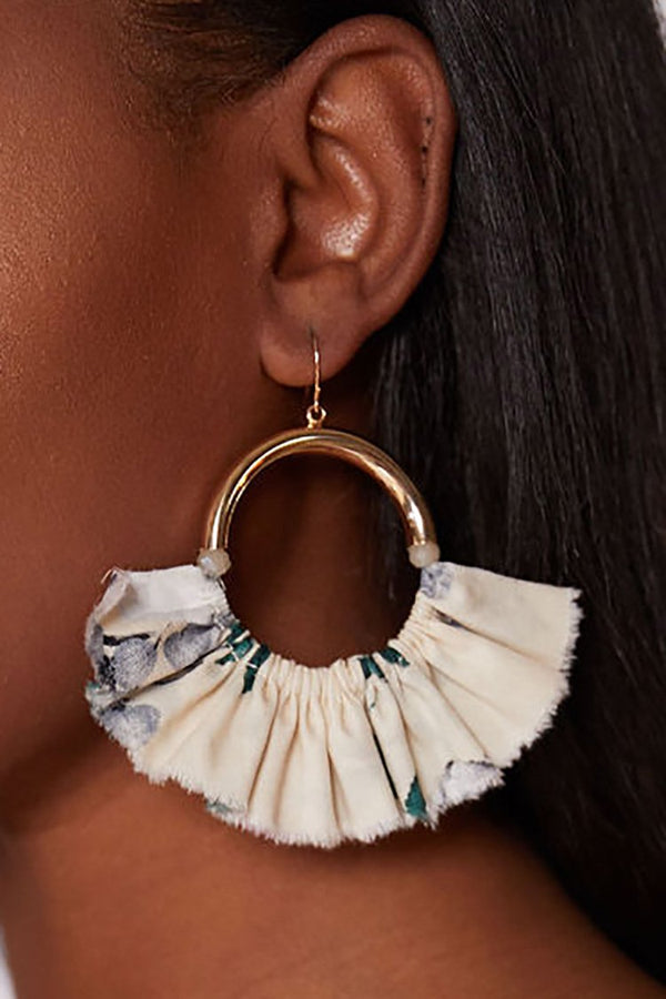 JASMINE FLORAL PRINT HOOPS - COCONUT earrings LADY ALAKO
