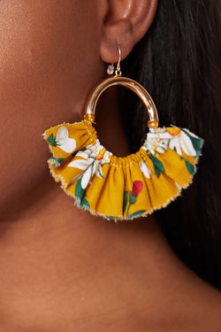 JASMINE FLORAL PRINT HOOPS - MUSTARD earrings LADY ALAKO