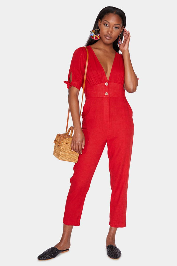 LYON LINEN JUMPSUIT - CHERRY jumpsuit LADY ALAKO