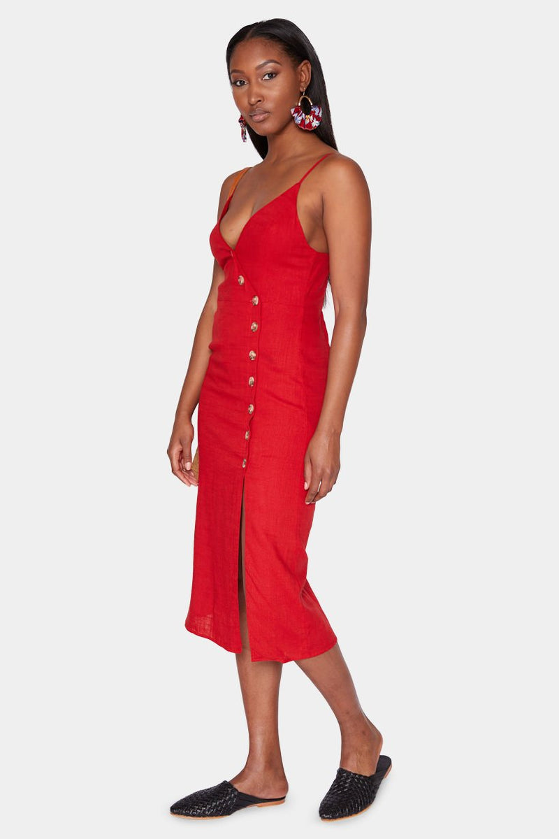 LYON LINEN STRAP DRESS - CHERRY RED dress LADY ALAKO