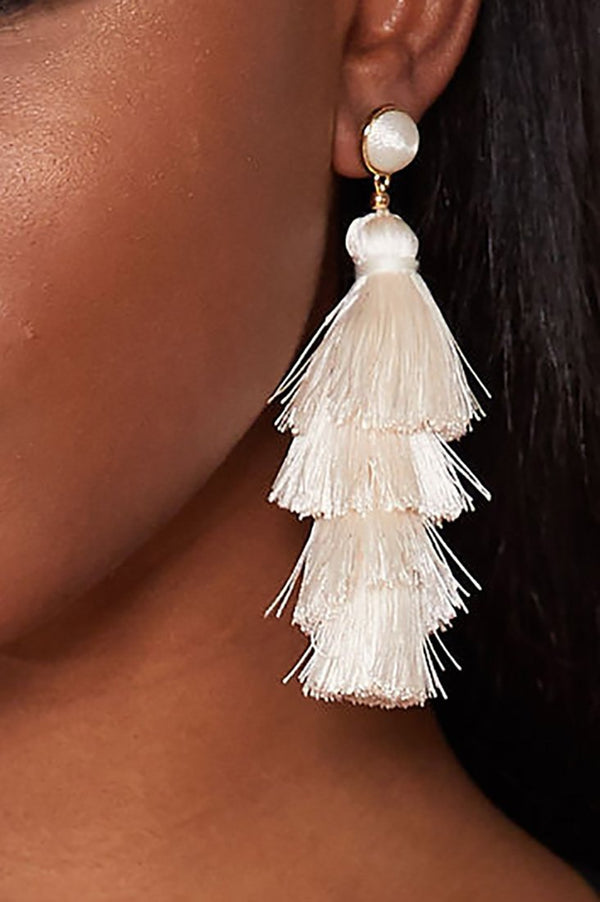 NATASHA TASSEL EARRINGS - IVORY earrings LADY ALAKO