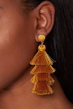NATASHA TASSEL EARRINGS - MUSTARD earrings LADY ALAKO