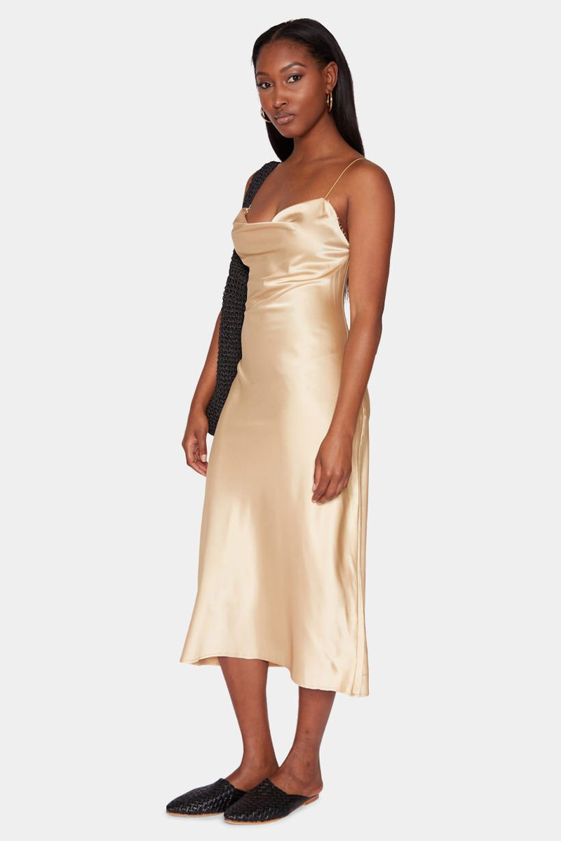 TANGIER SATIN SLIP DRESS - GOLD dress LADY ALAKO
