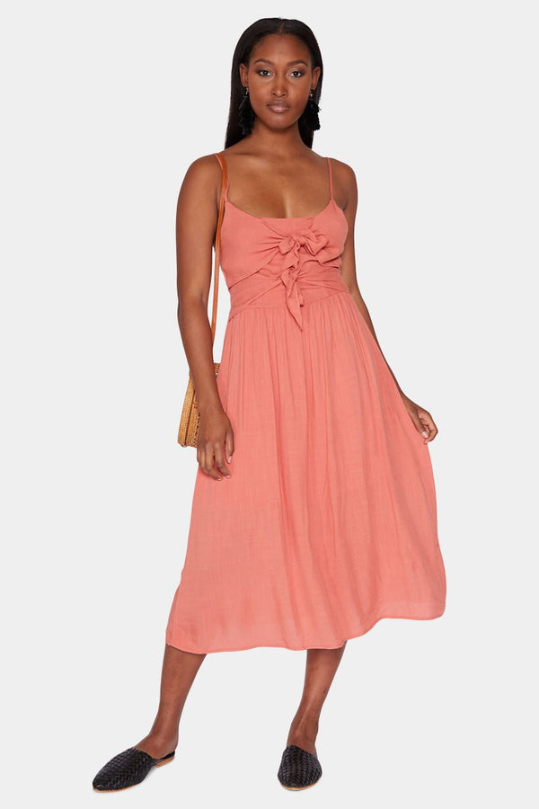 YVETTE DOUBLE-KNOT MIDI DRESS - CORAL dress LADY ALAKO