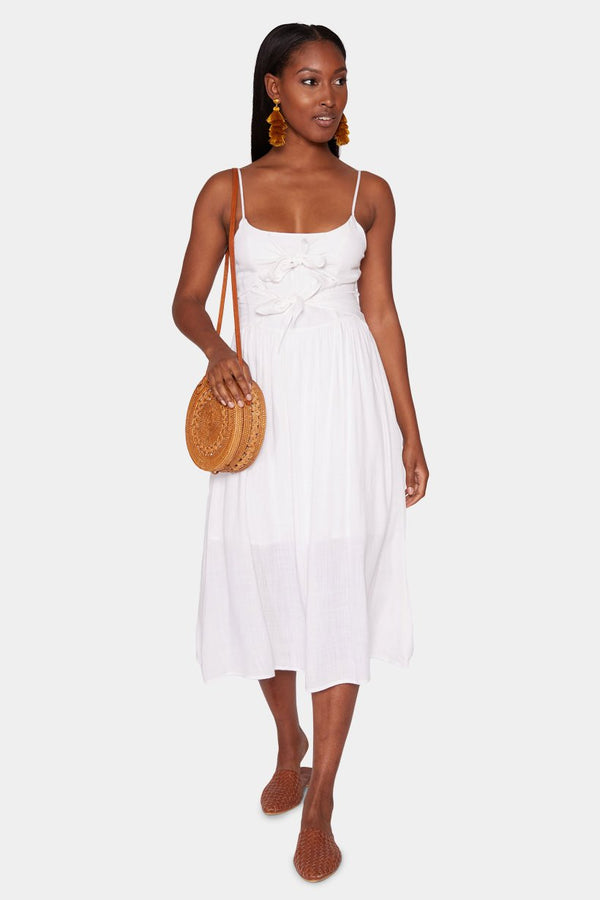 YVETTE DOUBLE-KNOT MIDI DRESS - WHITE dress LADY ALAKO