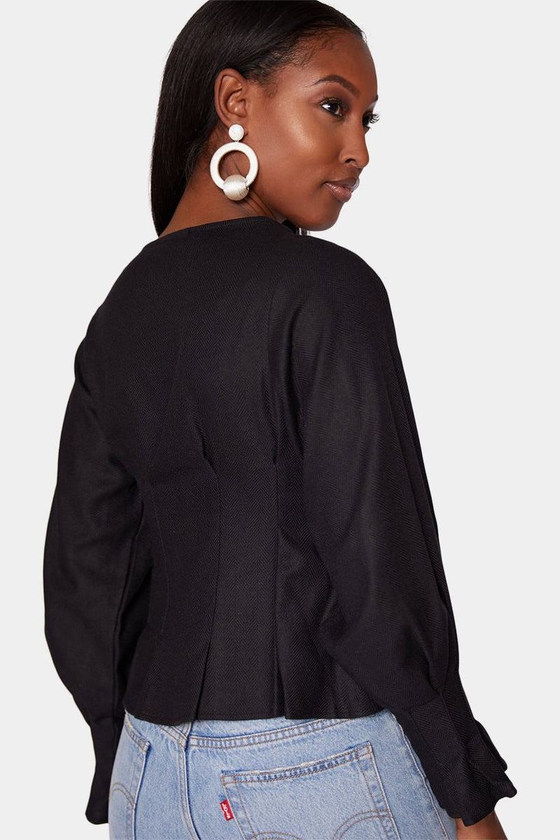 ZARIA - BUTTON BLOUSE - BLACK tops LADY ALAKO