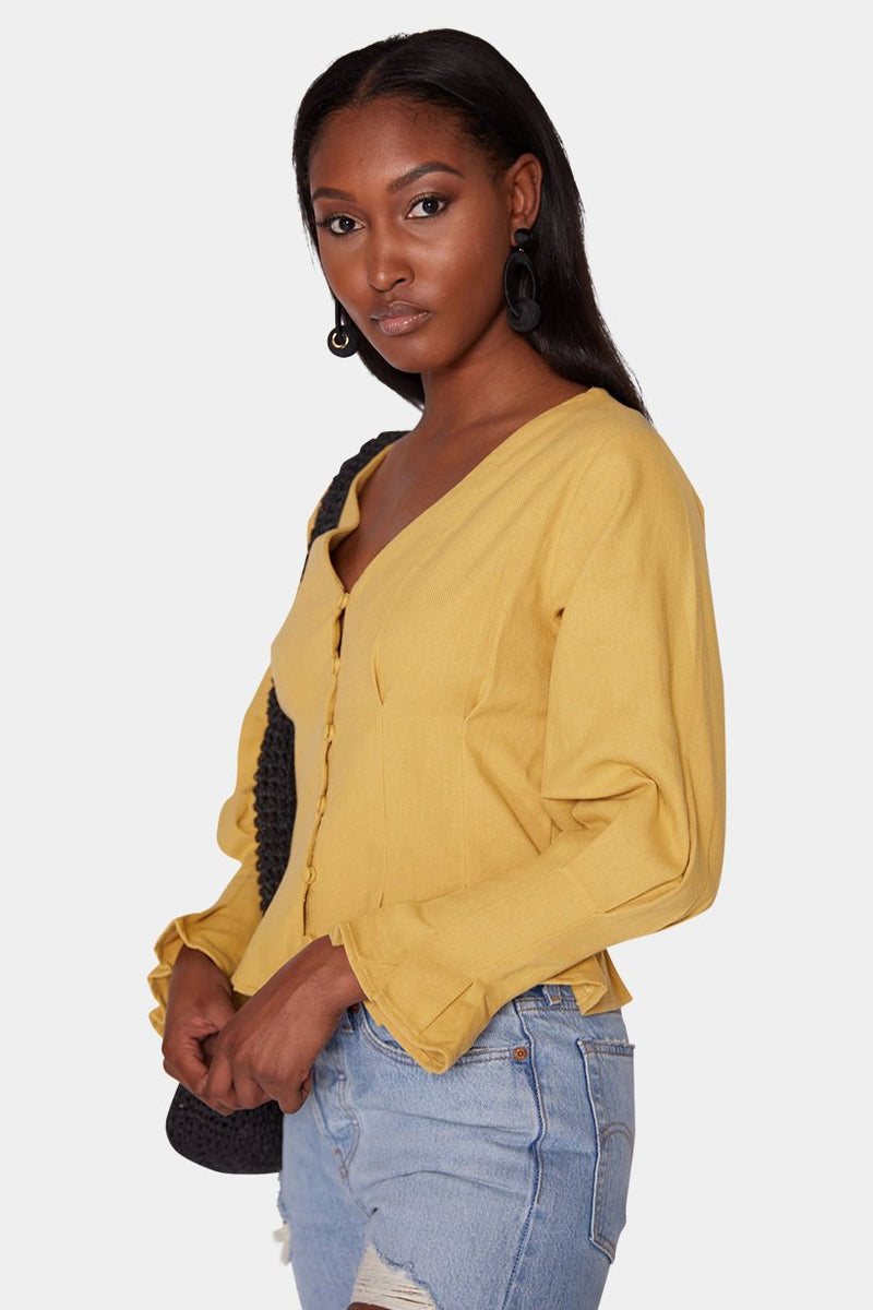 ZARIA - BUTTON BLOUSE - DIJON tops LADY ALAKO