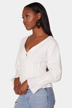ZARIA BUTTON BLOUSE - IVORY tops LADY ALAKO