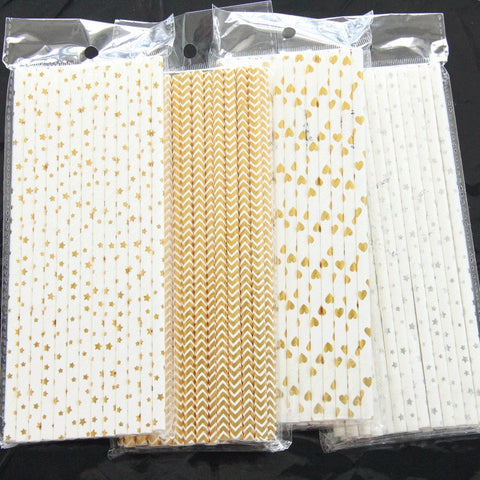 25pcs/pack Disposable Vintage Stripe Paper Drinking Straws