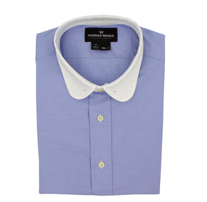 Blue w/ White Club Collar Performance Dress Shirt, with tie bar eyelets