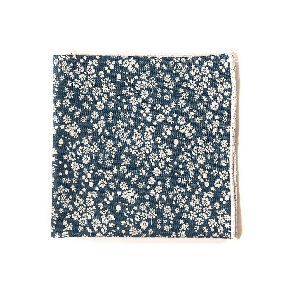 TWEEDS Floral Denim Pocket Square
