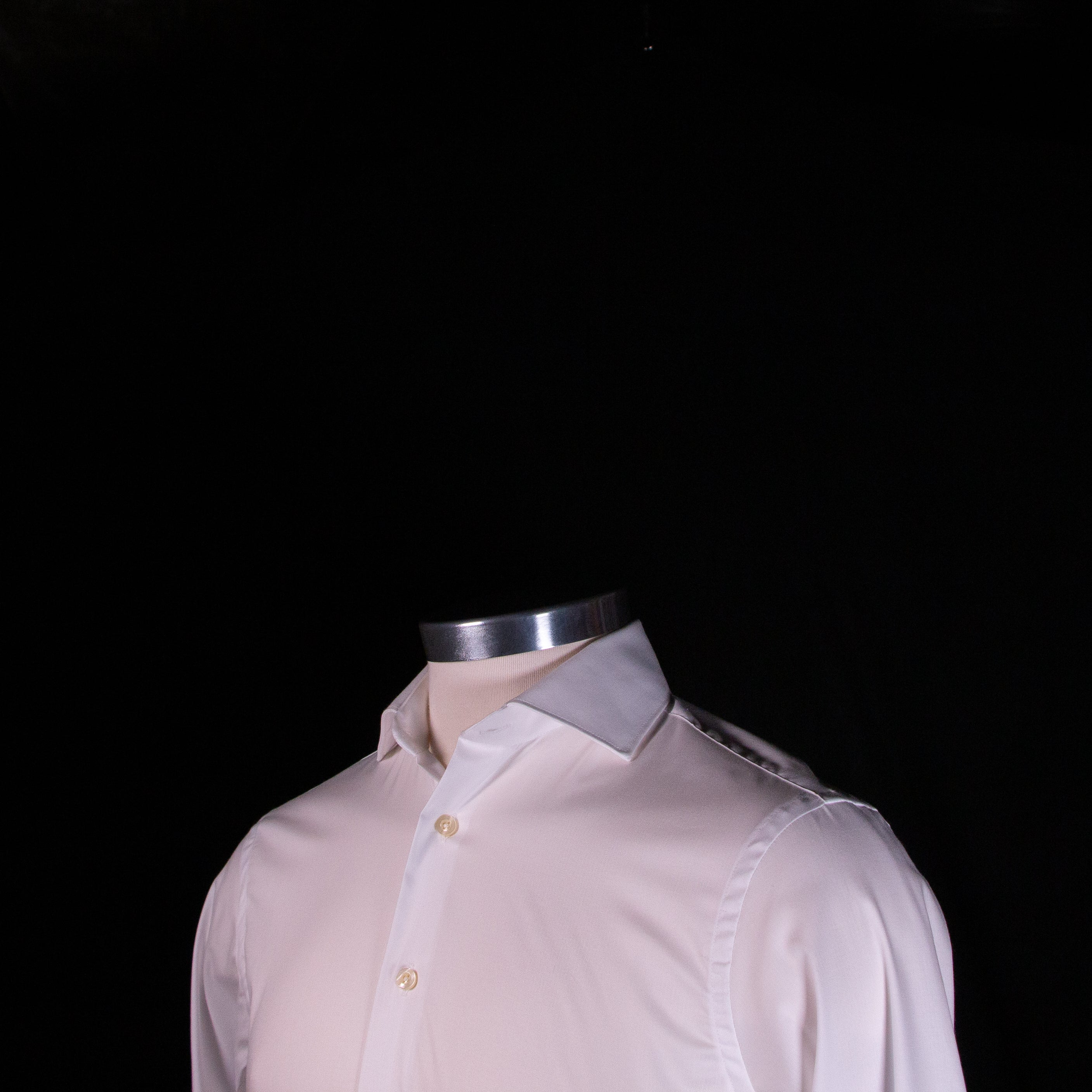 White Performance Spread Collar Dress