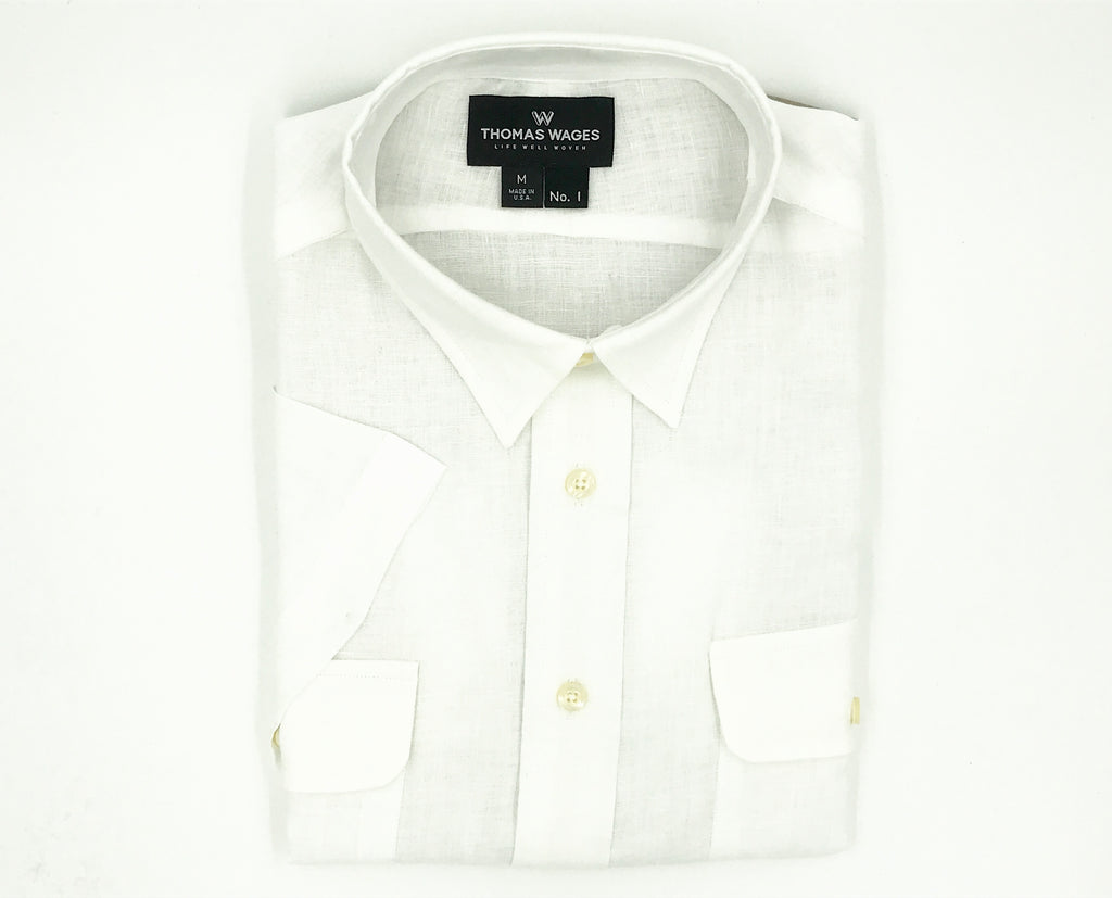 White Linen Short Sleeve Safari