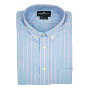 Blue Oxford w/ Pink Stripe