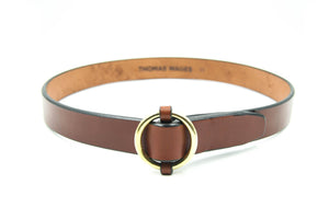 "1.25"" Brass Ring Belt, Oak"