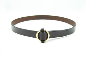 "1"" Brass Ring Belt, Havana"