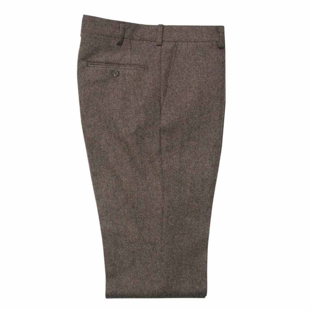 Brown Herringbone Trouser
