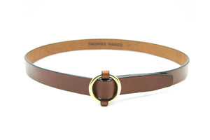 "1"" Brass Ring Belt, Oak"