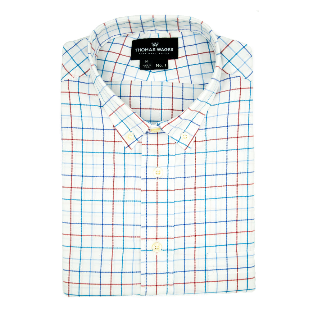 White Oxford w/ Red/Blue Windowpane