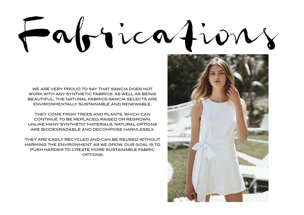 Sancia the label from Australia - Sustainability Mission