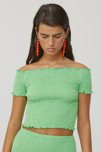 PALOMA WOOL | Hopper Smocked Off Shoulder Top - Green Fluor