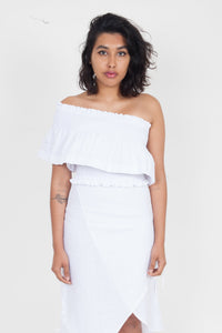 SIR the Label Ines One Shoulder Top White