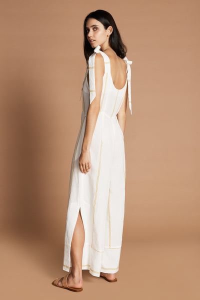 SANCIA Vaia Jumpsuit with full leg and shoulder tie in Maissane White Stripe